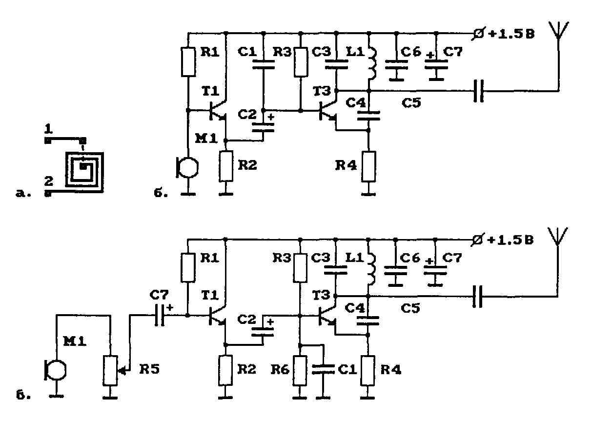 а - контурная катушка задающего ВЧ-генератора.  Рис.2.1. Схема УКВ ЧМ-передатчика с плоской катушкой...
