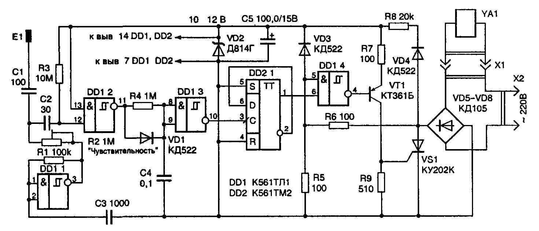 сенсорный выключатель-регулятор схема